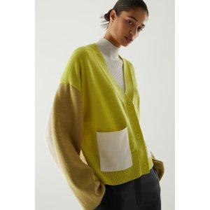 COS拼色羊毛开衫