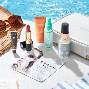 变相1折 仅€10收(价值超€100)Lookfantastic 七月夏日度假礼盒 含Elemis、GG等6件+旅行包
