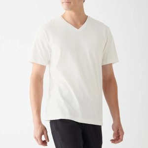 Men Organic Cotton Seamless Thick Jersey V Neck Short Sleeve 2 Pack T-Shirt Off White