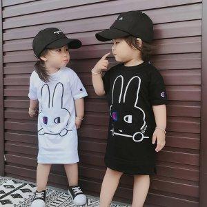 超可爱兔子长款T恤 黑色款