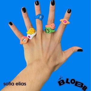 Get女团时尚博主同款小饰品Blobb ins爆款童趣陶土小戒指 甜辣风时髦女孩必备凹造型单品