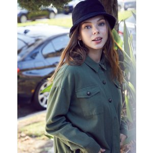 Cinched Twill Womens Jacket