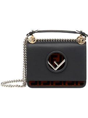 Fendi Black Kan I logo leather shoulder bag