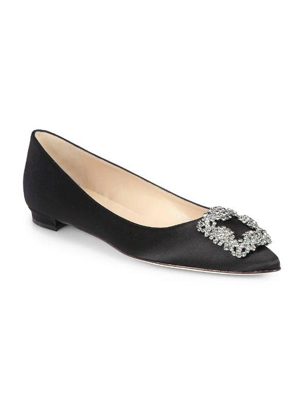 缎面钻扣黑色平底鞋