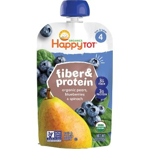 happy babyHappytot® Fiber & Protein Stage 4 Toddler Food Organic Pear Blueberry & Spinach -- 4 oz
