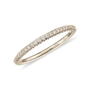 Blue NilePetite Micropave Diamond Ring in 14k Yellow Gold (1/10 ct. tw.) | Blue Nile