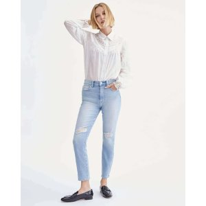 7 For All MankindHigh Waist Ankle Skinny with Knee Slits in Beverly Boulevard