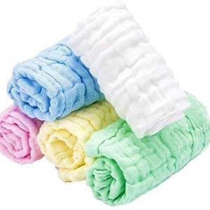 婴儿纯棉纱布小方巾 5条装