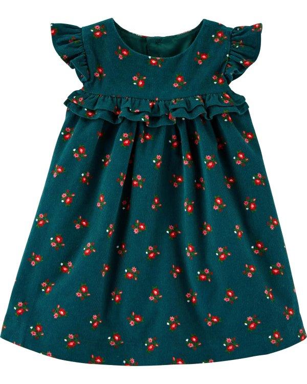 婴儿花朵灯芯绒连衣裙