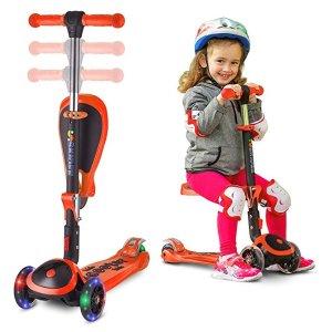 6.8折SKIDEE 儿童2合1可折叠滑板车热卖,轮子会发光