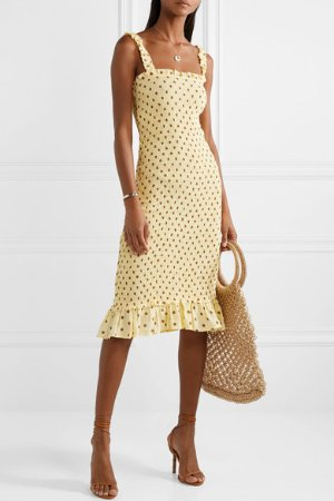 Faithfull The Brand | Nadine ruffled smocked polka-dot crepe midi dress | NET-A-PORTER.COM