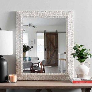 White Wash Tribal Mirror