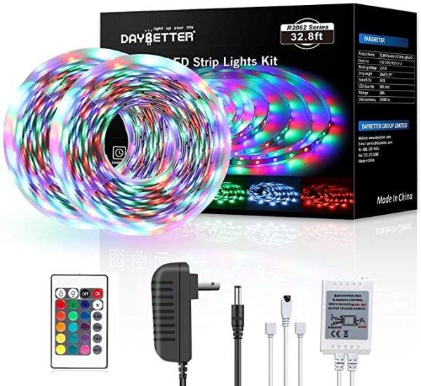 LED灯带 32.8ft 10m,带红外遥控器 RGB 600