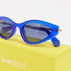 Polaroid4.5折椭圆形蓝色镜片太阳镜