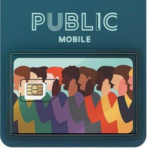 5.3折 仅$5(原价$9.4)Public Mobile 手机SIM卡特价  无合约计划$15起/月