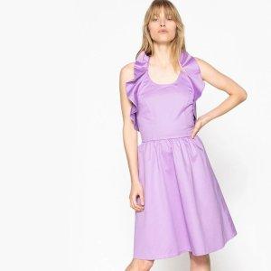 香芋紫挂脖连衣裙