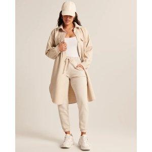 Abercrombie & FitchWomen's Long-Length Faux Wool Shirt Jacket | Women's Clearance | Abercrombie.com