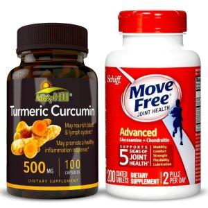 $36.50 Move Free Advanced Glucosamine & Natural Turmeric Curcumin Extract Bundle