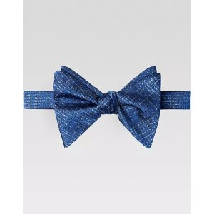 Calvin KleinBlue Woven Pattern Pre-Tied Bow Tie - Men's Accessories | Men's Wearhouse
