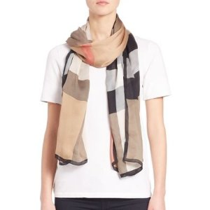 038121495467 BurberryBurberry - Mega Check Ultra-Washed Satin Scarf