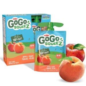 $2(原价$3.29)Go Go Squeez 100%纯鲜果泥 90gx4袋 苹果桃子口味
