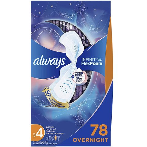 Always Infinity Feminine Pads for Women, Size 4, 78 Count