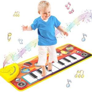 $16.99(原价$27.99)Tisy 儿童电子琴跳舞毯 可以提高手眼协调能力和运动能力