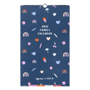 Kikki.K2021 SMALL FAMILY WALL CALENDAR NAVY KIKKI.K X MALALA FUND