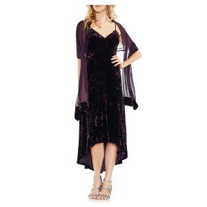 Vince CamutoCrushed Velvet Slip Dress with Scarf