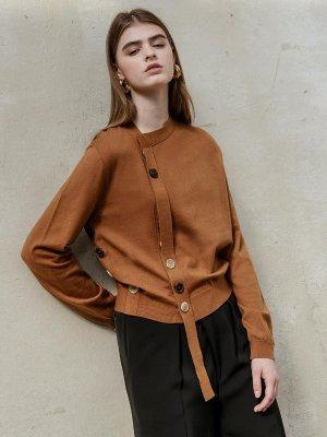 Button contrast diagonal cardigan [brown] | W Concept