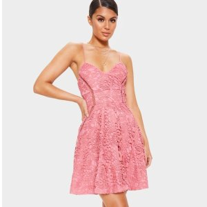 Rose Strappy Lace Cami Skater Dress
