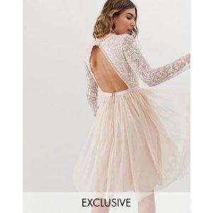 2943aa07744 NEEDLE & THREADembellished long sleeve midi dress with tulle skirt in rose  quartz at asos. $263.00. NEEDLE & THREAD embellished ...