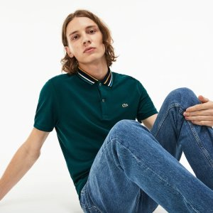 LacosteMen's Slim Fit Striped Contrast Collar Petit Pique Polo