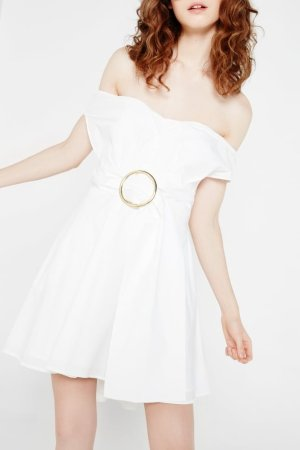Isla Off-The-Shoulder Dress With Belt And Buckle Detail