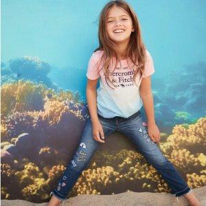 包括原价$60的牛仔裤 T恤$5.6起限今天:abercrombie kids 童装清仓多数$20以下一日闪购