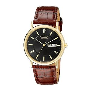 31b44723e Citizen Watches Mens BM8180-03E. CitizenMen's BM8242-08E Eco-Drive  Gold-Tone Stainless Steel Watch with Brown Leather