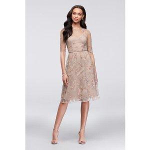 2d1b6f078d36 Davids BridalEmbroidered Elbow Sleeve Illusion Bridesmaid Dress | David's  Bridal