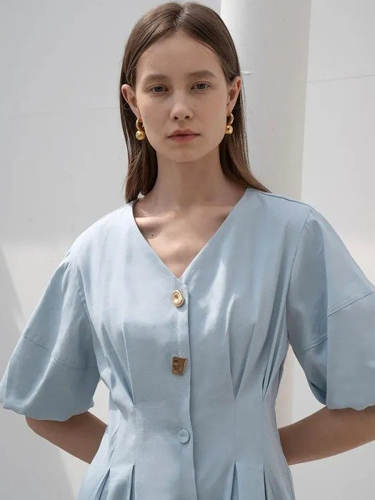 tillidie 设计感扣连衣裙