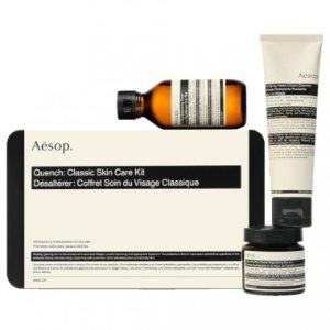 Aesop返券$15+送4件套Quench 经典护肤套盒