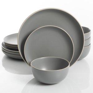 Gibson Home Rockaway 12 Piece Dinnerware Set, Grey