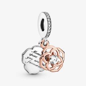 Pandora双色玫瑰吊饰