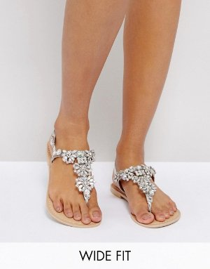 ASOS | ASOS FENDER Wide Fit Leather Embellished Flat Sandals