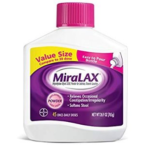 Amazon.com: MiraLAX Powder Laxative, Polyethylene Glycol 3350, 45 dose, #1 Dr. Recommended Brand, Effective Relief of Occasional Constipation: Health & Personal Care