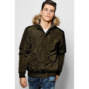 Khaki Short Parka With Faux Fur Hood - boohooMAN