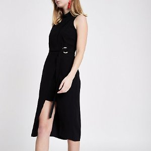 River IslandBlack high neck sleeveless midi dress - Dresses - Sale - women