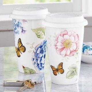 $5.99(原价$15)Lenox蝴蝶花朵图案12盎司随行杯