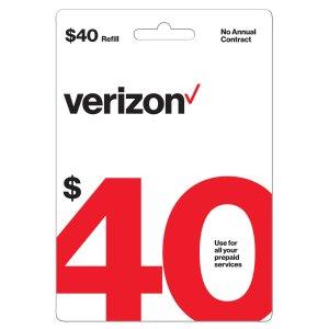 $33.40Verizon Wireless $40 预付费充值卡