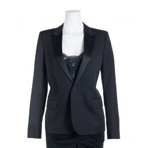 Jackets Women's Saint Laurent Womens Black One Button Wool Tuxedo Jacket Features 475087401 wINm1D0a