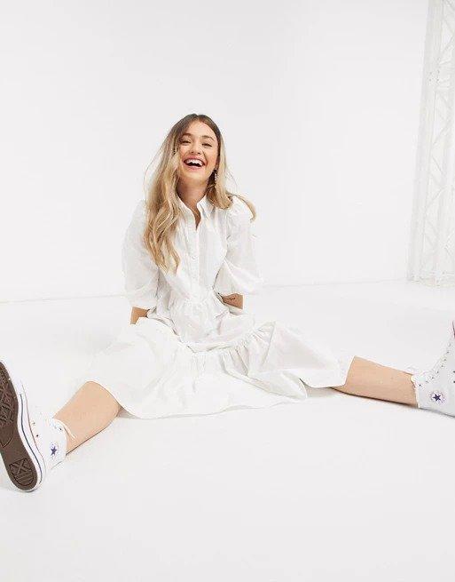 cotton poplin 白色连衣裙