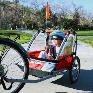 封面款降价$74.99可载儿童的自行车拖车热卖,溜娃新方式